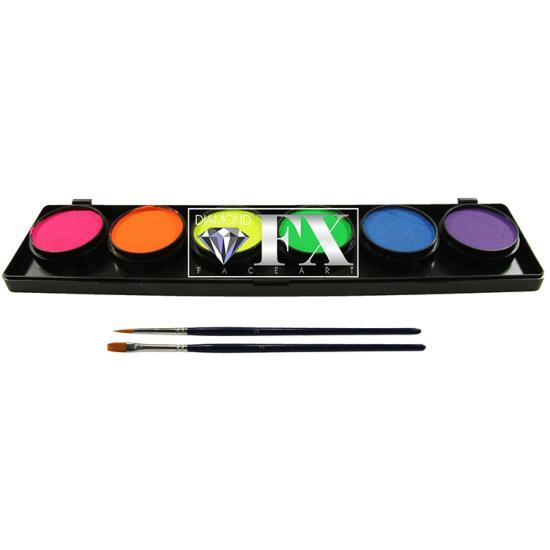6 UV színű arcfesték paletta - Diamond FX 6 UV color face paints palette UV arcfesték
