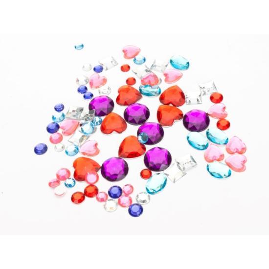 Vegyes, színes öntapadós strasszkő 7-20 mm, 56 db kő