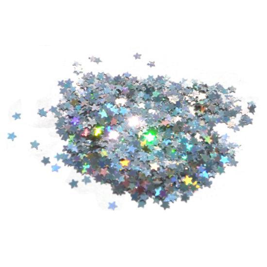 Ezüst flitter - Lézer Ezüst Csillag flitter Hologramos flitterek