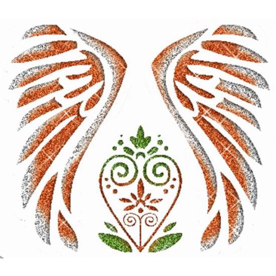 Angyalszárny 02 csillám tetoválás sablon Óriás minták