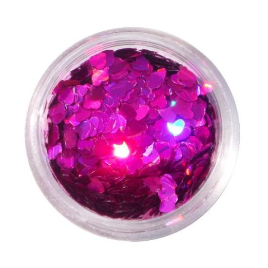 Rózsaszín flitter - Lézer Mályva Szív flitter Hologramos flitterek