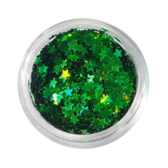 Zöld flitter - Lézer Zöld Csillag flitter Hologramos flitterek