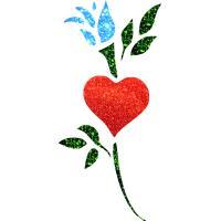 Virágos szív 01 festősablon Virágok